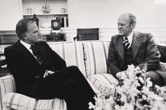 Billy Graham visits President Gerald Ford at the White House in the mid-1970s. The two first became acquainted during Ford's time in Congress and continued their relationship during Ford's presidency.