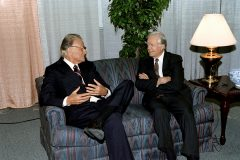 Billy Graham meets privately with former President Jimmy Carter during Graham's 1994 Crusade in Atlanta.