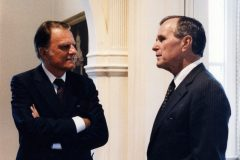 "Billy Graham speaks with President George H.W. Bush in the early 1990s. ""I thank God for bringing Billy Graham into the lives of my family,"" Bush once said. ""He gave us great strength and through him we better know God's Son, Jesus Christ."""