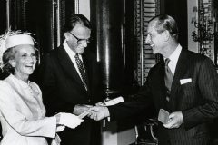 "At a 1982 Buckingham Palace ceremony, His Royal Highness Prince Phillip, Duke of Edinburgh, presents Billy Graham with the Templeton Foundation Prize for Progress in Religion. The citation said Graham's ""cooperation with all denominations of the Christian faith and his determination to involve the statesmen of the world in evangelism has left an indelible mark on Christian history."""