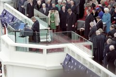 Billy Graham delivers the prayer at George H. W. Bush's inauguration ceremony on Jan. 20, 1989.