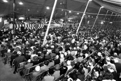 Billy Graham's 1949 Crusade in Los Angeles is extended to eight weeks due to overwhelming crowds.