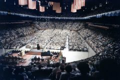 More than 2 million people hear Billy Graham in person at Madison Square Garden (May 15 – Aug. 31), Yankee Stadium (July 20) and in Times Square (Sept. 1), during the 16-week New York City Crusade in 1957—Graham's longest Crusade.
