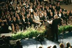 Billy Graham delivers a message at the April 23, 1995, memorial service for the Oklahoma City bombing.