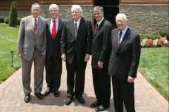 Presidents George H.W. Bush, Bill Clinton and Jimmy Carter join Billy and Franklin Graham after a tour of the Billy Graham Library, which opens to the public in June 2007.