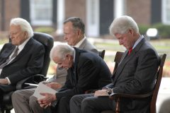Billy Graham is joined by former Presidents George H.W. Bush, Jimmy Carter and Bill Clinton at the Billy Graham Library dedication ceremony on May 31, 2007.