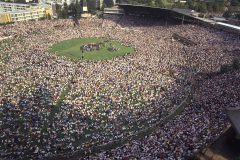 In March 1973, 60,000 people gather at Wanderers Stadium for a Billy Graham Crusade in Johannesburg, South Africa. At the time, it was the largest multiracial gathering ever held in the country.