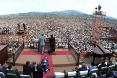 On June 3, 1973, 1.1 million people gather in Yoido Plaza in Seoul, South Korea—the largest single-day audience of all Billy Graham's Crusades.