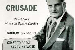 On June 1, 1957, ABC broadcasts the first of 14 live, primetime, hour-long Billy Graham telecasts from Madison Square Garden. The network estimated the weekly viewership at 7 million people.