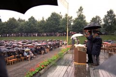 In July 1967, Billy Graham preaches in a Communist country for the first time. More than 7,000 people stood in a steady rain for two meetings in a field in Zagred, Yugoslavia—the first open-air evangelistic meetings in Eastern Europe since World War II.
