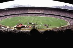 In October 1974, 225,000 people fill Maracanã Stadium for the closing meeting of a five-day Crusade in Rio de Janeiro. In addition to the record-breaking crowd, up to 50 million people saw the service on TV, carried on all networks across Brazil by order of the president.