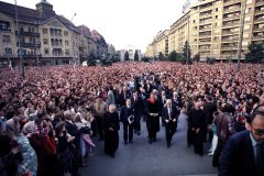 While in Romania in 1985, Billy Graham—accompanied by son Franklin—preaches at Orthodox and Reformed cathedrals; at Roman Catholic, Baptist and Pentecostal churches; at a Jewish synagogue; and at an Orthodox monastery. Some stops on the seven-city trip were marked by crowds in excess of 100,000.