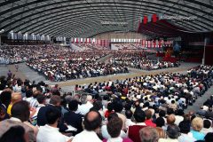 In 1986, 10,000 participants from 174 nations and territories gather in Amsterdam for the International Conference for Itinerant Evangelists. The Billy Graham Evangelistic Association held its first such conference three years earlier and a third conference in 2000, all focused on training and encouraging evangelists from around the world.