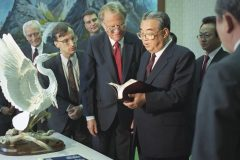 In 1992 Billy Graham meets with North Korean President Kim Il Sung and becomes the first foreign-born evangelist to preach in the communist nation of North Korea (the Democratic Republic of Korea).