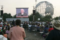 At 86 years old, Billy Graham conducts his final Crusade in New York City's Flushing Meadows Corona Park, June 24-26, 2005. More than 230,000 people attend during the three days.