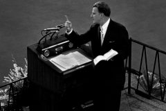 Throughout his career, Billy Graham holds Crusades on six continents (photo: Chicago, 1962).