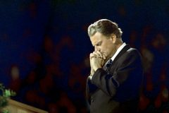 """Many times I have been driven to prayer,"" Billy Graham once said. ""When I was in Bible school I didn't know what to do with my life. I used to walk the streets…and pray, sometimes for hours at a time. In His timing, God answered those prayers, and since then prayer has been an essential part of my life."" (photo: Pittsburg, 1968)"