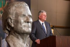 CHARLOTTE, N.C., Sept. 28, 2018—Franklin Graham speaks at the unveiling of two sculptures by the Chinese artist Yuan Xikun, held at the Billy Graham Evangelistic Association headquarters.