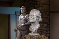 """CHARLOTTE, N.C., Sept. 28, 2018—""""Billy Graham as Messenger"""" (in the foreground) and """"Billy Graham as Sower"""" (in background) are displayed following the unveiling ceremony with Chinese artist Yuan Xikun and Billy Graham's son Franklin Graham."""