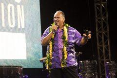 Former Kaua`i Mayor Bernard Carvalho speaking at the Kaua`i Celebration with Will Graham in May 2019.