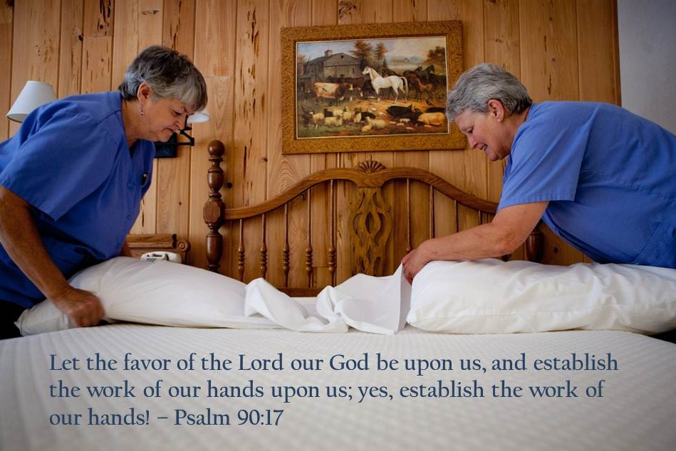 Housekeepers making bed Psalm 90 17 med