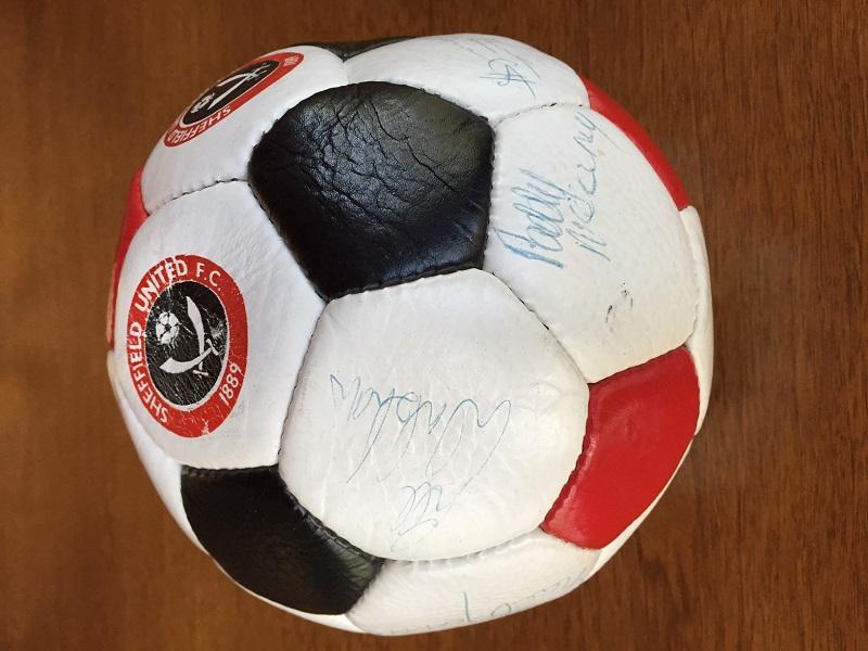 Soccer ball signed by Sheffield United Football Club during Bramall Lane Crusade June 22 thru 29 1985 Sheffield England 2
