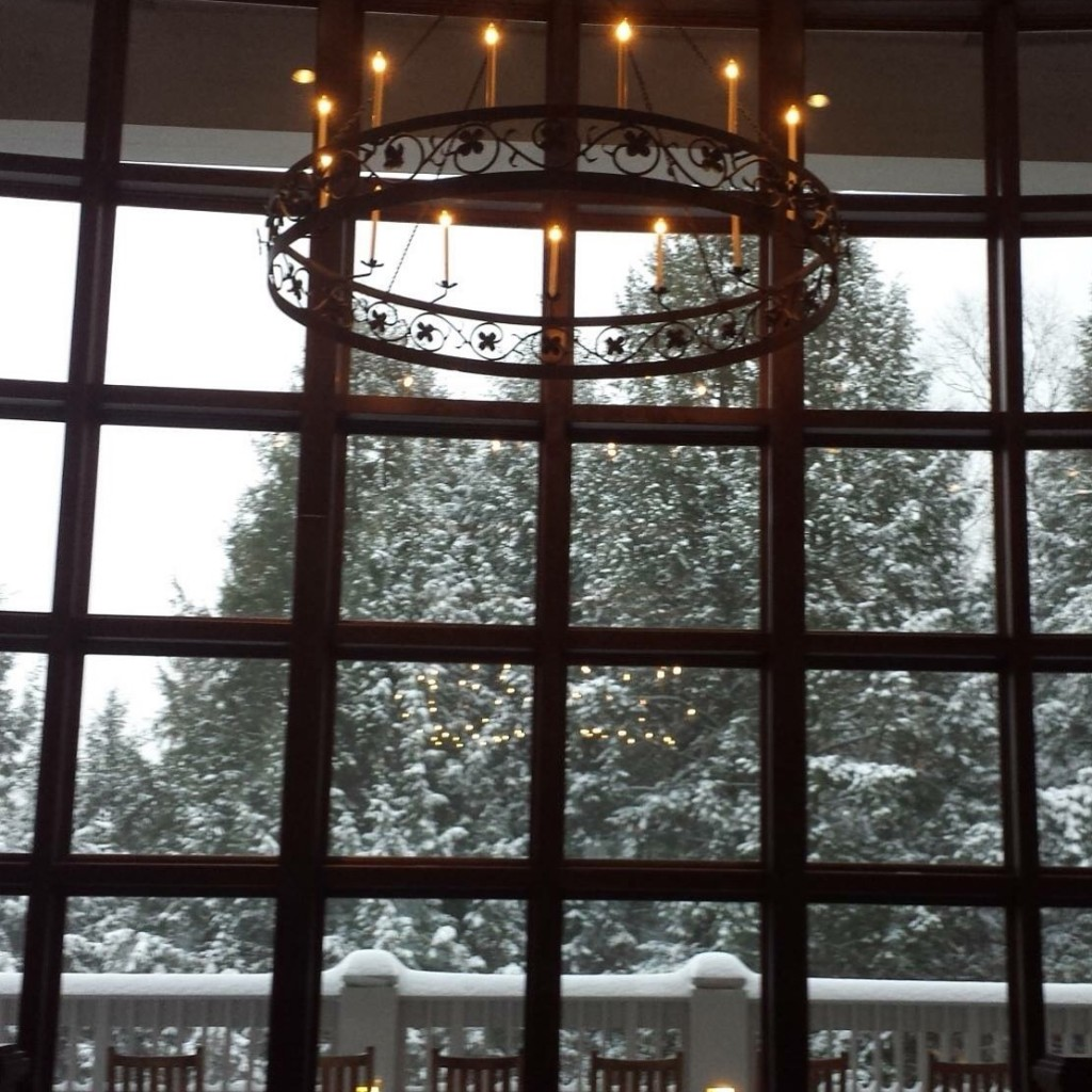 chandelier with snow in background