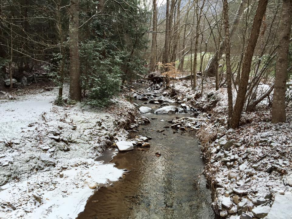 light snow on creek