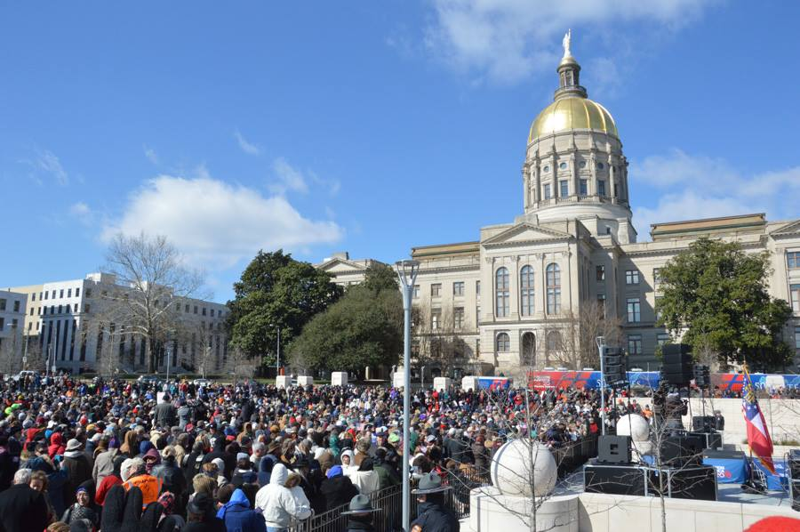 DAT group from The Cove Feb 2016 GA State Capitol with crowd