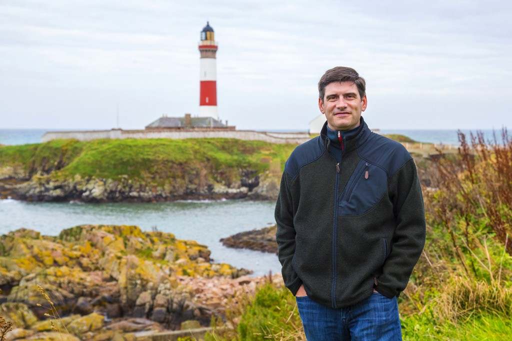 Wil Graham in Scotland with litehouse