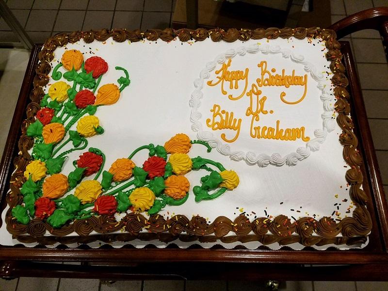 Billy Graham 98 birthday cake chocolate 11 7 16