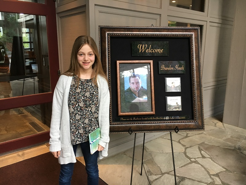 Lily in front with Brandon Heath sign Feb 2017