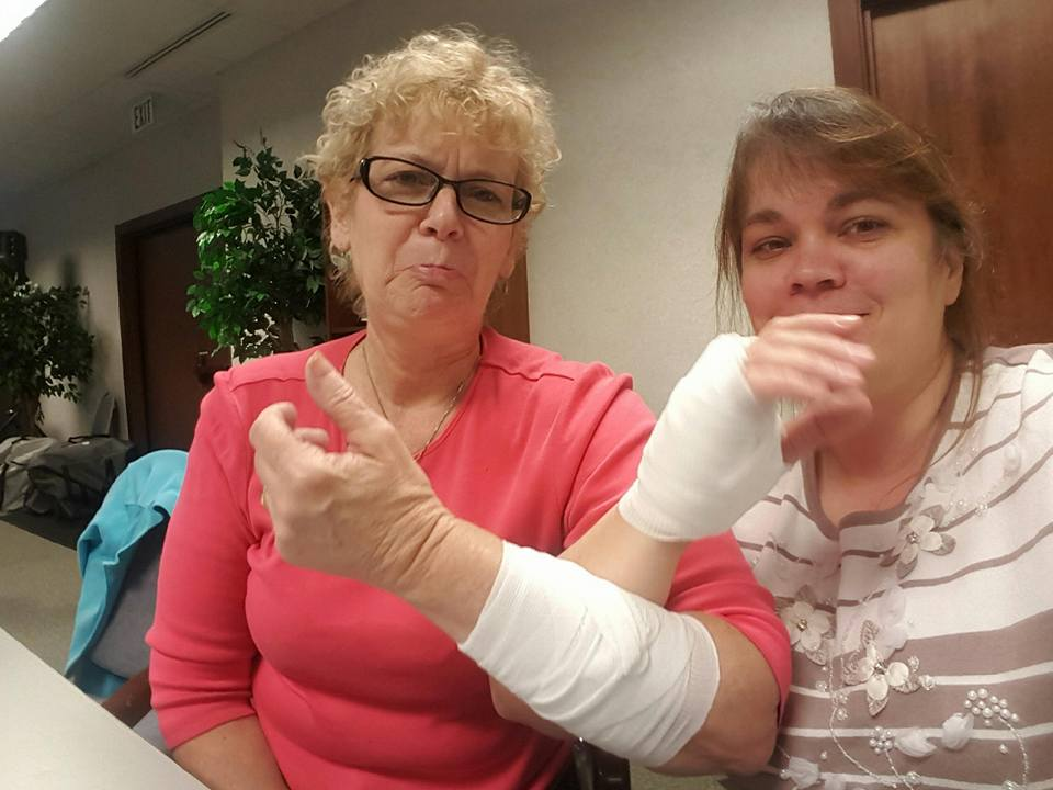 Tina and Alla and bandages on CPR day Feb 2017