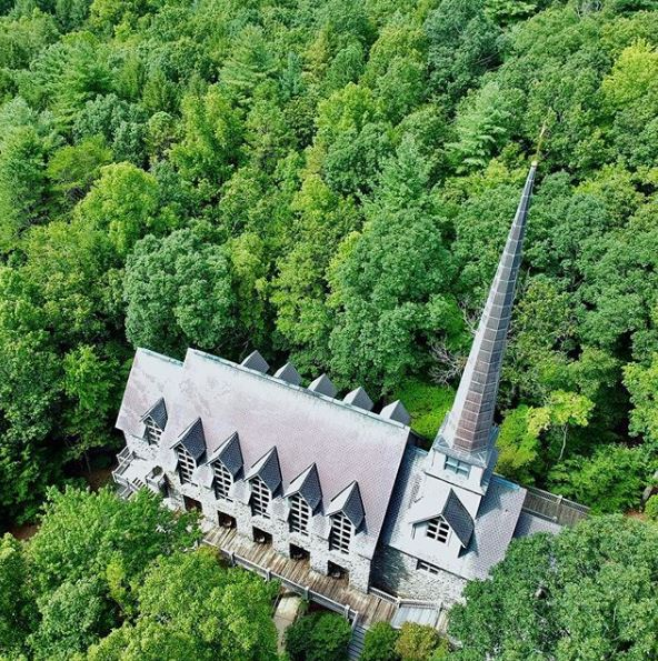 drone shot of chapel from Mark Christian at Wil Graham seminar in 2017