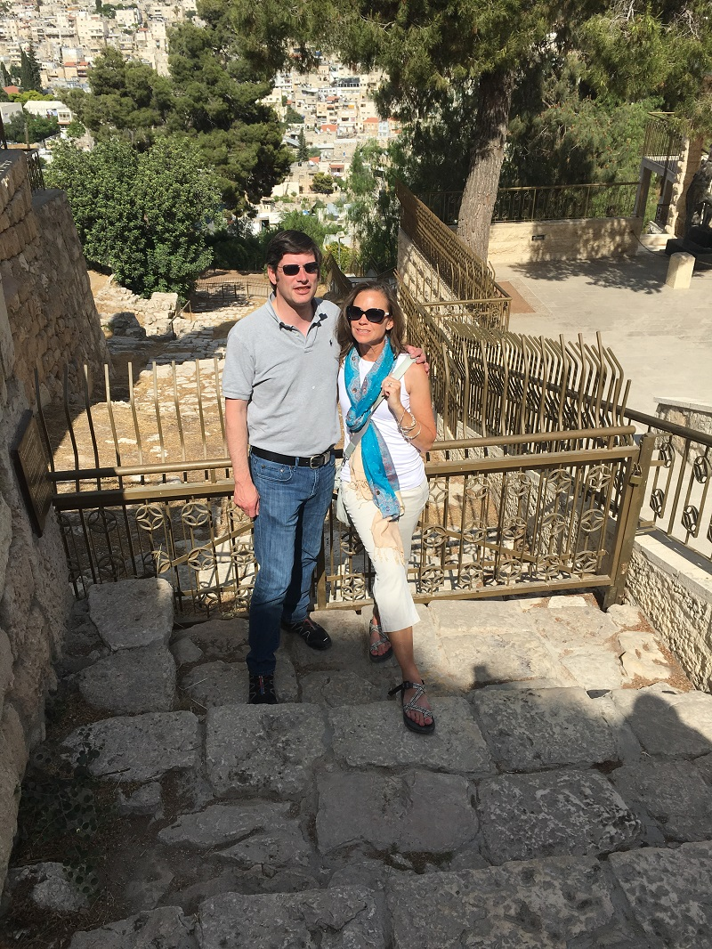 Kendra and Will Graham at the bottom of the ancient steps