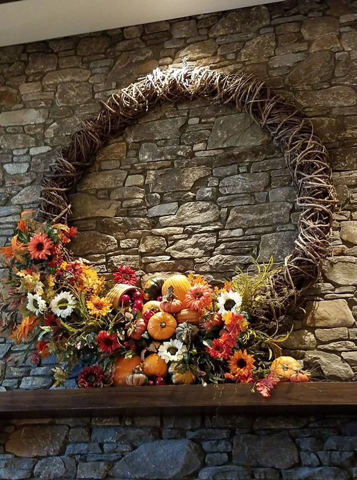 Fall decorations 2017 wreath above fireplace at TC completed September 2017