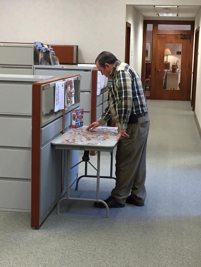 Doug solving a puzzle