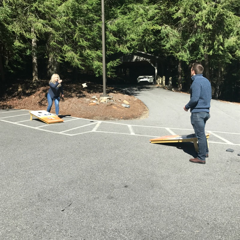 Game (BRB employees take a break with a game of cornhole)