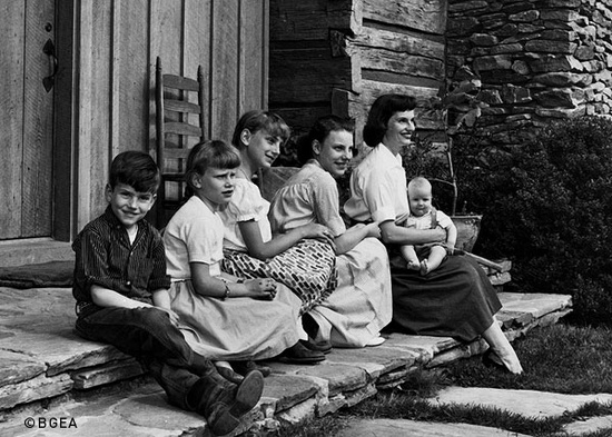 Ruth Bell Graham with children in 1958 Montreat