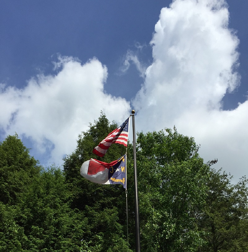 American Flag with NC Flag May 2015