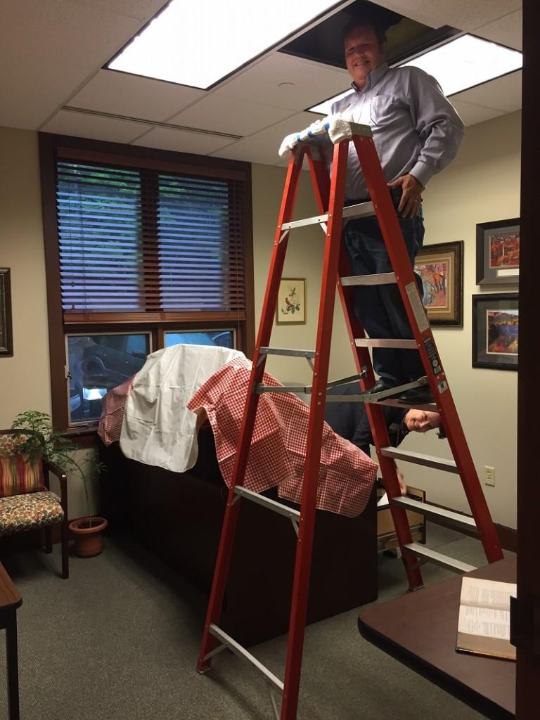 doug fixing leak in Lauras office August 2016