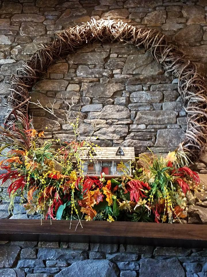 Fall wreath above fireplace at TC