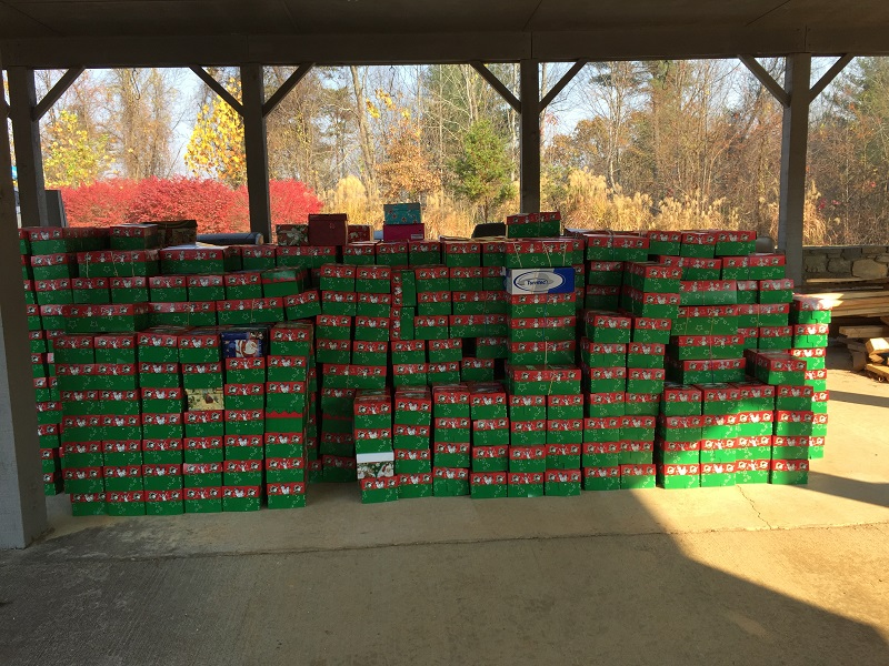 901 boxes dropped by 1st baptist church of swannanoa their goal was 600 2016 all stacked up